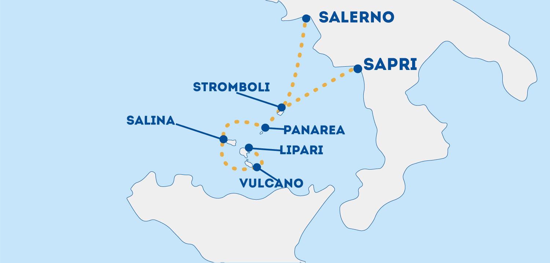 Collegamenti Isole Eolie da Salerno e Sapri: tutte le tratte